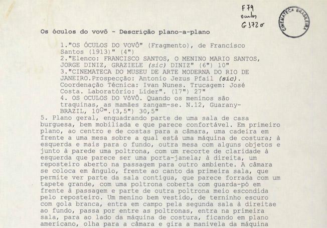 Os óculos do vovô (Francisco Santos, 1913), Descrição plano-a-plano